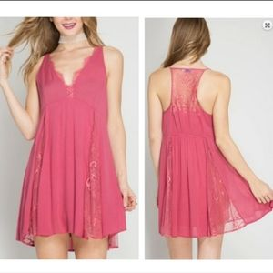 She and sky raspberry Cami dress with lace